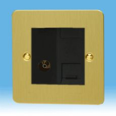 Varilight 2 Gang Datagrid Plate Ultra Flat Brushed Brass + TV Outlet & Telephone Master XFBG2S+Z